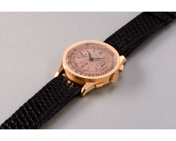 ROLEX An extremely rare and attractive pink gold antimagnetic chronograph wristwatch with rose coloured dial, reference 3330. Manufactured in 1941.