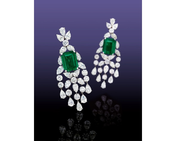 A Pair of Emerald and Diamond Pendent Earrings, Graff
