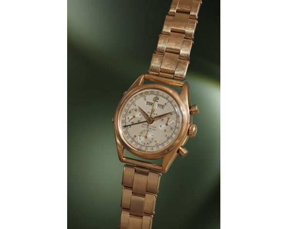ROLEX A highly exceptional pink gold Spanish triple calendar chronograph wristwatch with two-tone dial, bracelet and guarantee, retailed by Serpico Y Laino, reference 6036, circa 1951.