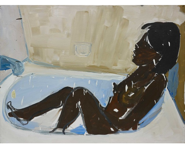 HENRY TAYLOR Untitled (woman in bath tub, bathing), 2015