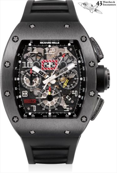 Laurent Picciotto Collection: A very fine and rare black-coated titanium skeletonised tonneau-shaped flyback chronograph wristwatch with month, date, golf balls and photograph, made for Chronopassion, numbered 1 of a limited edition of 30 pieces