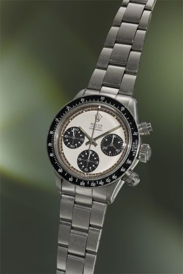 A fine and highly attractive stainless steel chronograph wristwatch with 'Paul Newman' dial, 'tropical' outer minute track, bracelet and guarantee