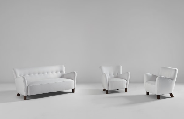 Sofa, model no. 1669a, and pair of armchairs, model no. 1669