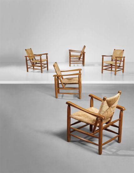 Set of five armchairs, model no. 21, from 'L'Equipement de la Maison' series
