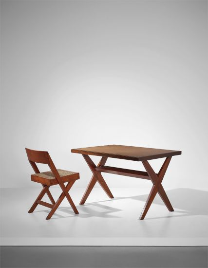 'Reading table', model no. PJ-TA-09-B, and 'Cane seat wood back' chair, model no. PJ-SI-51-A, designed for the High Court, Punjab University Library and Central State Library, Chandigarh