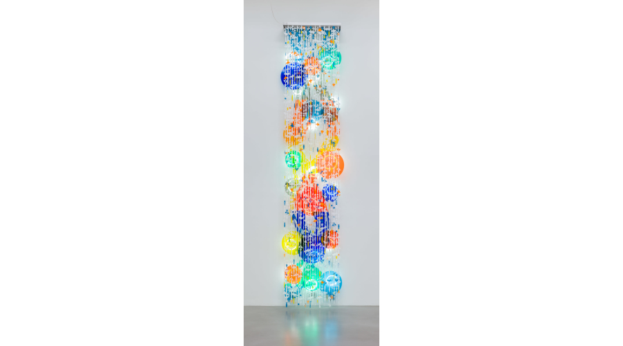 <b>Jorge Pardo</b> <i>Untitled</i>, 2014. Acrylic, wire, fluorescent lights, weights. Courtesy of the artist and Petzel Gallery, New York.