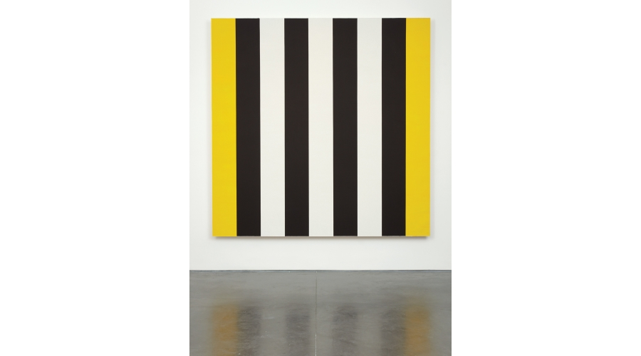<b>Mary Corse</b> <i>Untitled (White, Black, Yellow)</i>, 2013. Glass microsphere in acrylic on canvas. Courtesy the artist and Lehmann Maupin, New York and Hong Kong.