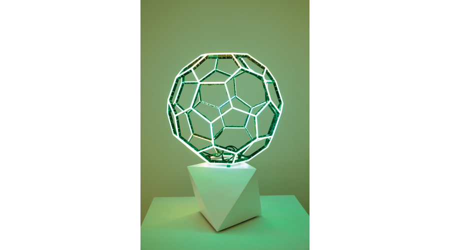 <b>Leo Villareal</b> <i>Buckyball</i>, 2015. LEDs, custom software, electrical hardware, base. Courtesy the artist and Sandra Gering Inc.