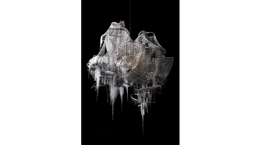 <b>Lee Bul</b> <i>Untitled</i>, 2014. Crystal, glass and acrylic beads, mirrors, stainless-steel, aluminum and black nickel rods, steel and bronze chains, stainless-steel and aluminum armature. Photo: Jeon Byung-cheol. Courtesy the artist and Lehmann Maupin, New York and Hong Kong.
