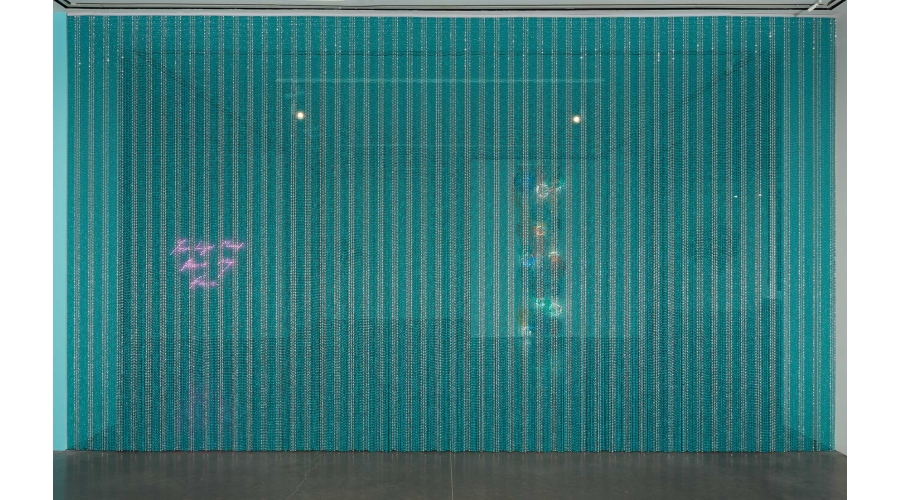 """<b>Felix Gonzalez-Torres</b> <i>""""Untitled"""" (Water)</i>, 1995. Strands of beads and hanging device. The Baltimore Museum of Art: Purchase with exchange funds from Bequest of Saidie A. May, BMA 1995.73 © The Felix Gonzalez-Torres Foundation. Courtesy of Andrea Rosen Gallery, New York."""