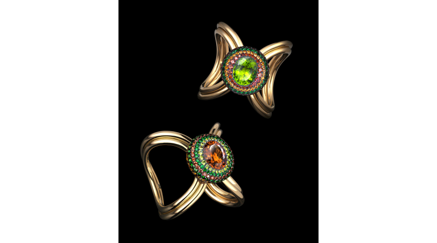 XO CUFFS peridot, tourmalines, spinels, garnets, silver and gold © Lauren Adriana, photographed by Richard Valencia