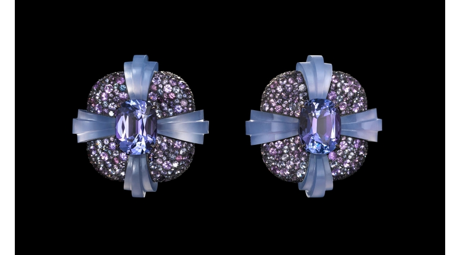 TORUS EARRINGS tanzanites, spinels, chalcedony, silver and gold © Lauren Adriana, photographed by Richard Valencia