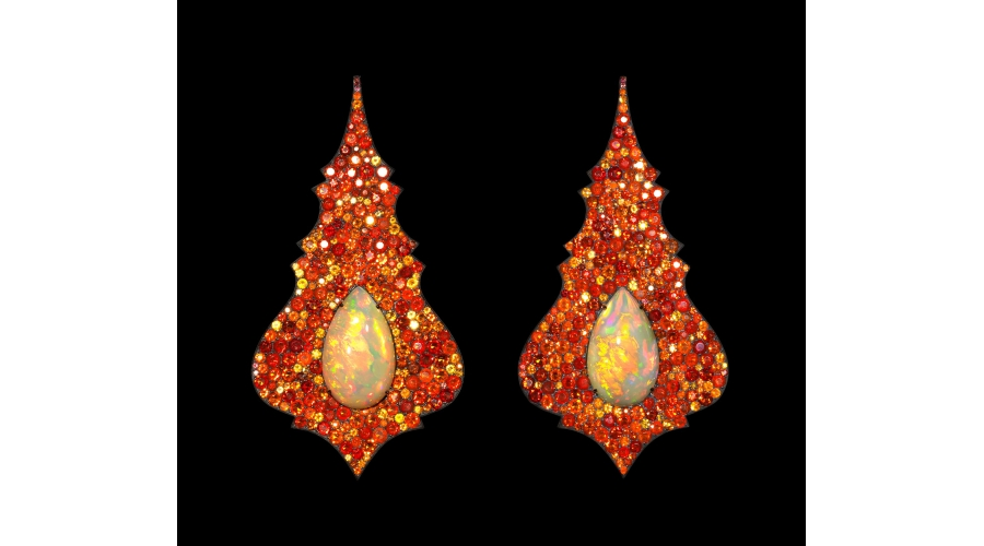 CHANDELIER EARRINGS ethiopian opals, fire opals, silver and gold © Lauren Adriana, photographed by Richard Valencia