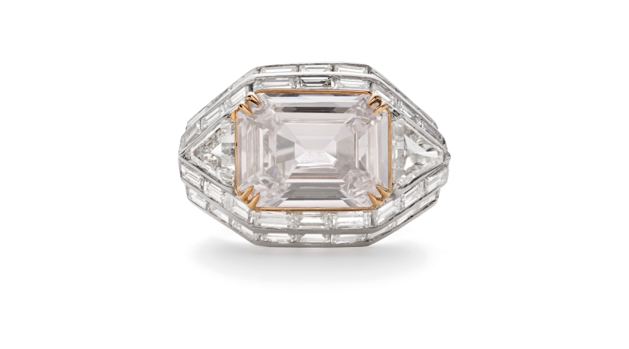 An Important Colored Diamond and Diamond Ring. Sold for $168,750 (pre-auction estimate $80,000-100,000).