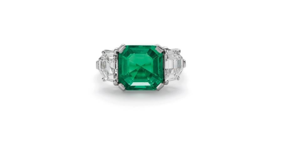 A Fine Art Deco Colombian Emerald and Diamond Ring. Sold for $118,750 (pre-auction estimate $40,000-60,000).
