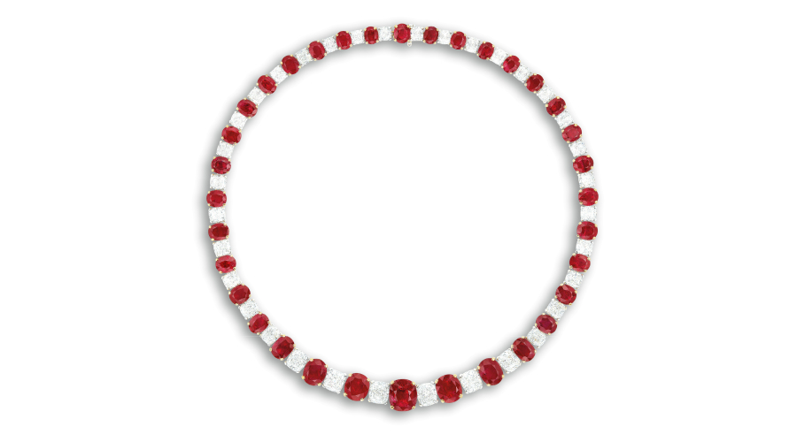 An Exceptional Ruby and Diamond Necklace. Sold For $1,320,000 (pre-auction estimate $1,200,000-1,650,000).