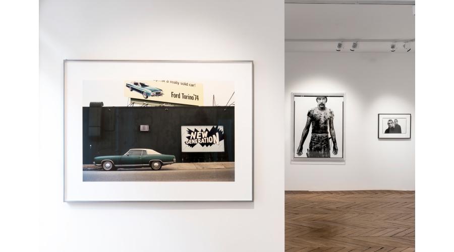 From left to right: WILLIAM EGGLESTON Untitled, 2012; RICHARD AVEDON Blue Cloud Wright, slaughterhouse worker, Omaha, Nebraska, August 10, 1979, 1985; RICHARD AVEDON Francis Bacon, artist, Paris, April 11, 1979, 1979