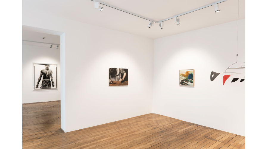 From left to right: RICHARD AVEDON Blue Cloud Wright, slaughterhouse worker, Omaha, Nebraska, August 10, 1979, 1985; MICHAËL BORREMANS Sweet Disposition, 2003; JOAN MITCHELL Untitled, 1957; ALEXANDER CALDER Two Horizontals and Nine Verticals, 1956