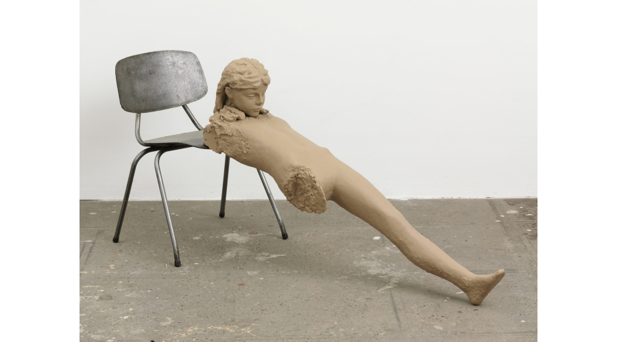 MARK MANDERS Clay Figure with Iron Chair, 2009
