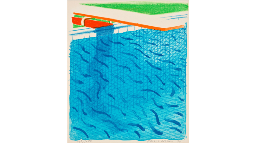 DAVID HOCKNEYPool Made with Paper and Blue Ink for Book, from Paper Pools, 1980
