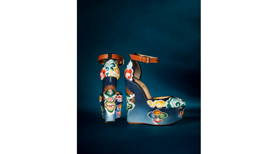 Christian Louboutin 'Tsipatra' 160mm embroidered crepe satin and leather sandal with handcrafted wooden platform in 'Version Navy/Multi'