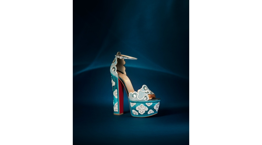 Christian Louboutin 'Beaute Du Ciel' 160mm embroidered suede and leather sandal with handcrafted wooden platform in 'Version Sky Powder/Teal'