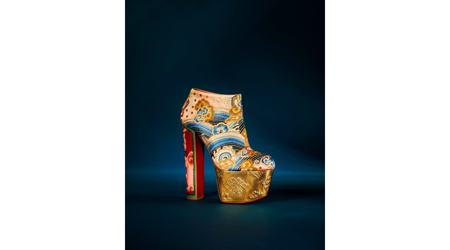 Christian Louboutin 'Ciel Et Terre' 160mm embroidered crepe satin boot with handcrafted wooden platform in 'Version Multi'