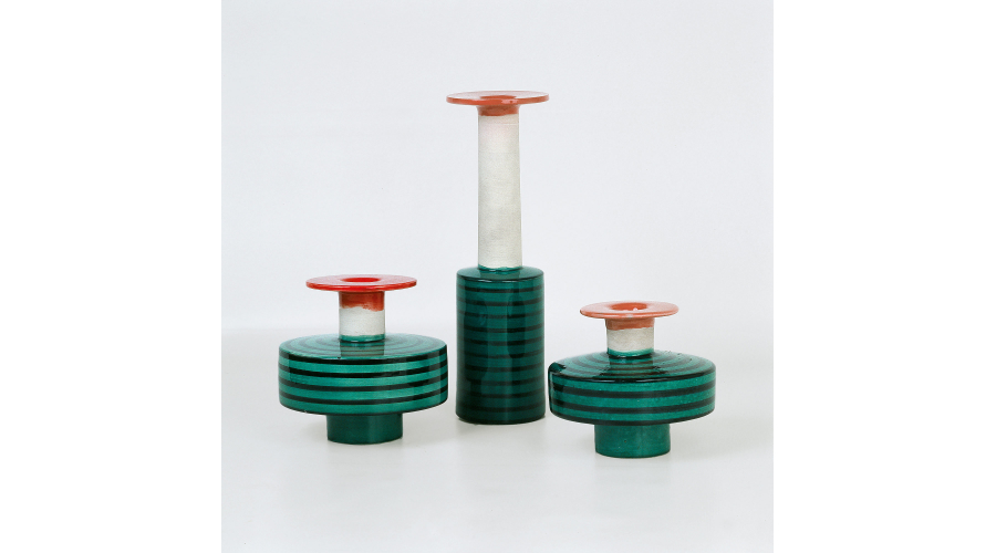 ETTORE SOTTSASS Vases turned in white clay, biscuit and gloss glaze, Galleria Il Sestante, Milan, 1959