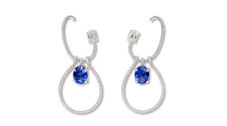 A Pair of Tanzanite and Diamond 'Teresa' Earrings