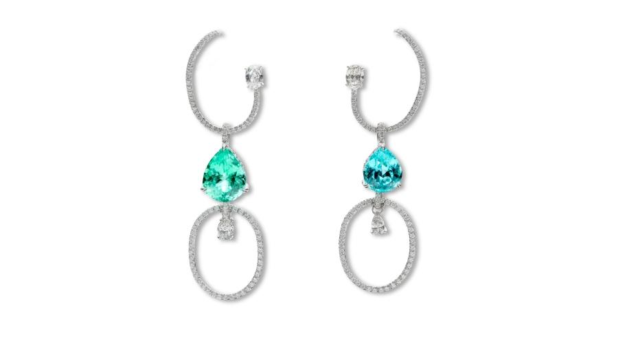 Green and Blue Paraiba Tourmaline and Diamond 'Helena' Ear Pieces