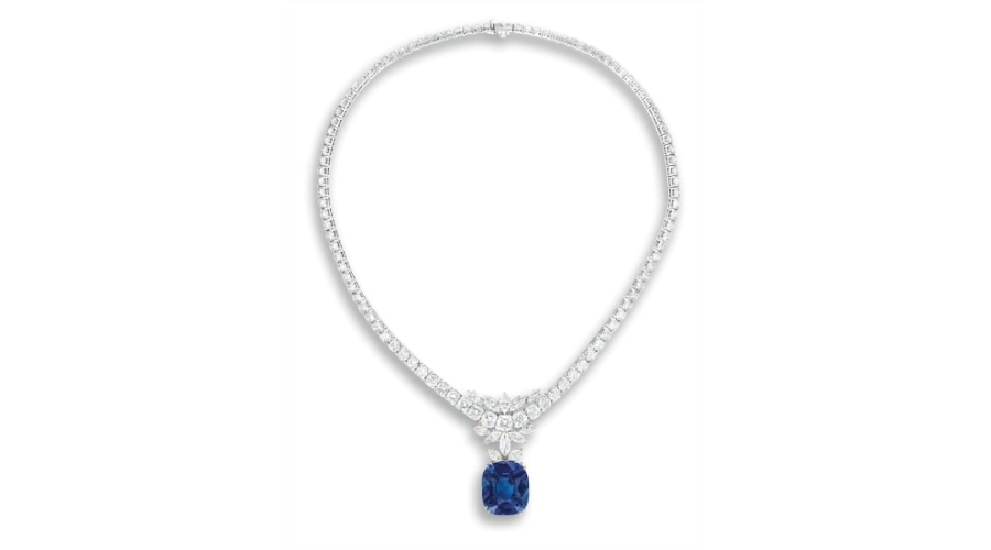 VAN CLEEF & ARPELS Sapphire and diamond necklace. Sold for HK$4,660,000.