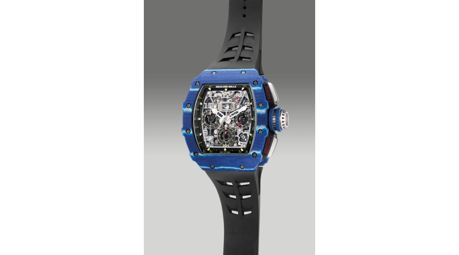 RICHARD MILLE reference RM11-03 J. Todt, a rare and attractive limited edition blue Quartz TPT and carbon flyback chronograph wristwatch with date, certificate and winding box, numbered 46 of a limited edition of 150 pieces to commemorate 50 years of Jean Todt, circa 2018