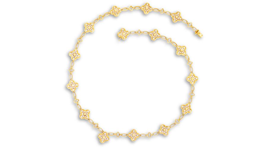 VAN CLEEF & ARPELS A Diamond 'Alhambra' Necklace, Circa 1992