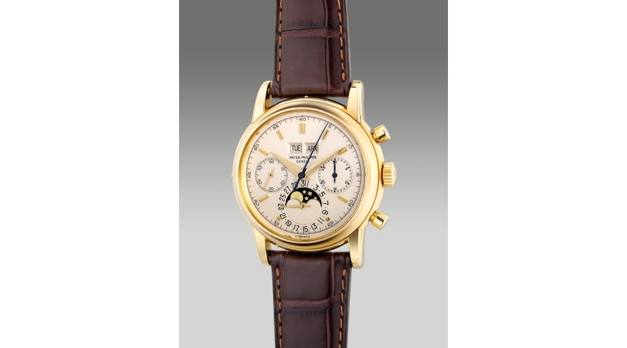 PATEK PHILIPPEreference 2499/100, An extremely fine and rare yellow gold perpetual calendar chronograph wristwatch with moon phases, 1982