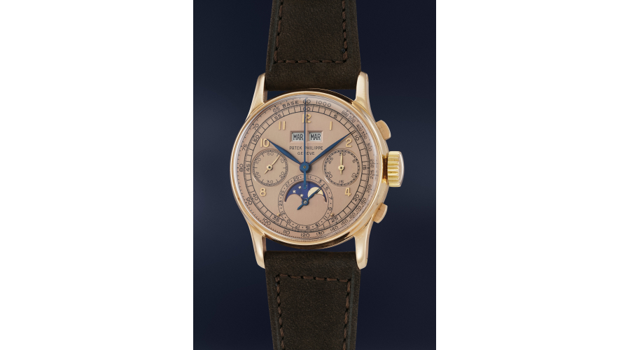A highly rare, exceptionally well-preserved and attractive pink gold perpetual calendar chronograph Patek Philippe Ref. 1518 with pink dial and moonphases, from the personal collection of Jean-Claude Biver