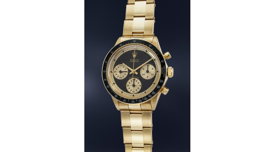 A very rare, highly important and extremely attractive 14K yellow gold chronograph Rolex Cosmograph Daytona Ref. 6241 with Paul Newman John Player Special dial and bracelet