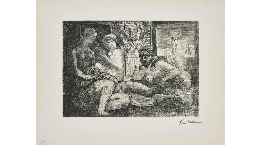 PABLO PICASSO Quatre Femmes Nues et Tête Sculptée