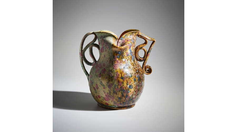GEORGE OHR Mottled two-sided, two-handled vase, circa 1895