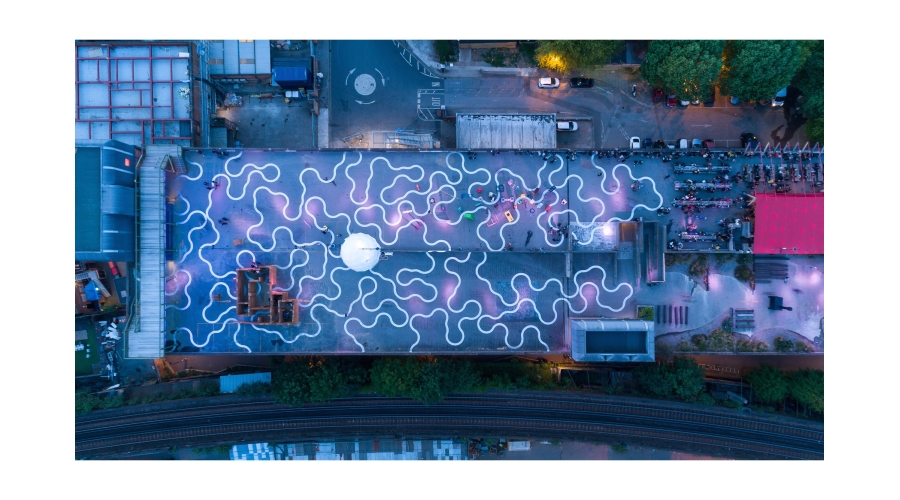 Bold Tendencies from above at night including Richard Wentworth's Agora, commissioned as a permanent work across the whole roof in 2015 © Bold Tendencies, courtesy Bold Tendencies Photography: Pete Landers