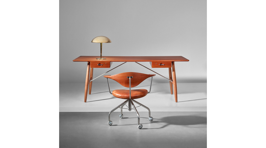 HANS J. WEGNER Large 'Architect's desk', model no. JH57, designed 1954; Early swivel chair, model no. JH502, circa 1955; PAAVO TYNELL Table Lamp, model no. 5061, circa 1940s