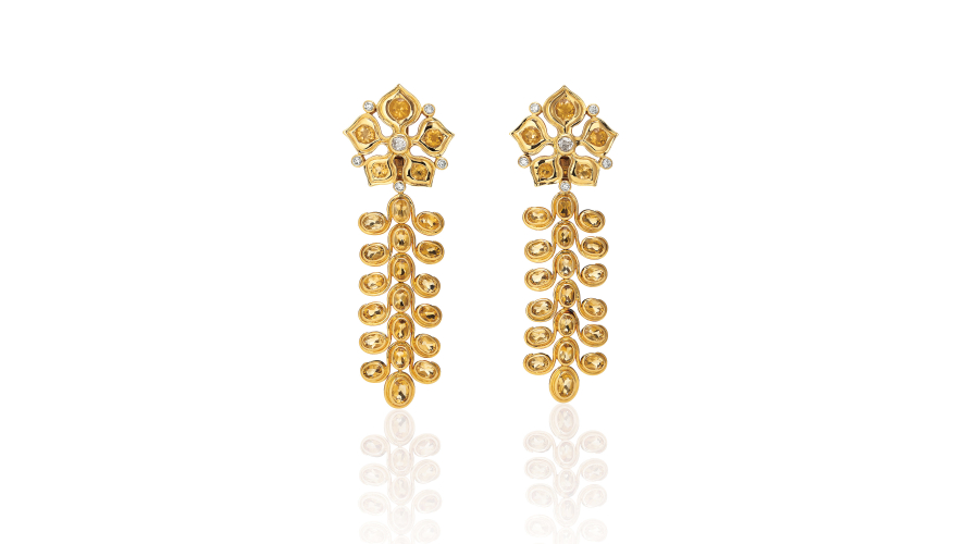 RENE BOIVIN. A Pair of Citrine, Diamond and Gold Earrings