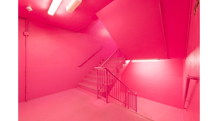 Bold Tendencies Entrance Staircase: Simon Whybray's hi boo i love you, commissioned as a permanent work across the whole staircase in 2016 © Bold Tendencies, courtesy Bold Tendencies Photography: Damian Griffiths