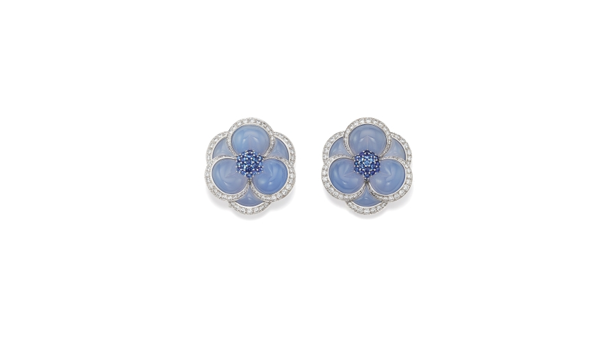 VAN CLEEF & ARPELS. A Pair of Chalcedony, Diamond, Sapphire and Gold 'Blue Gardenia' Brooches