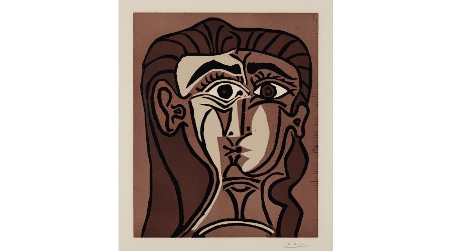 PABLO PICASSO Portrait de Jacqueline de Face. II (Tête de femme), 1962