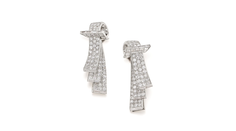 BOUCHERON. A Pair of Art Deco Diamond, Platinum and Gold Clips
