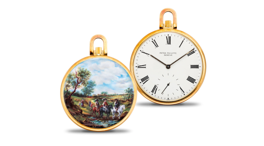 PATEK PHILIPPE, ref. 866/2. An exceptional and unique gold openface watch with enamel miniature painted by M. Bischoff after a painting by Salomon van Ruysdael, with original certificate of origin, hang-tag and presentation box. 1975