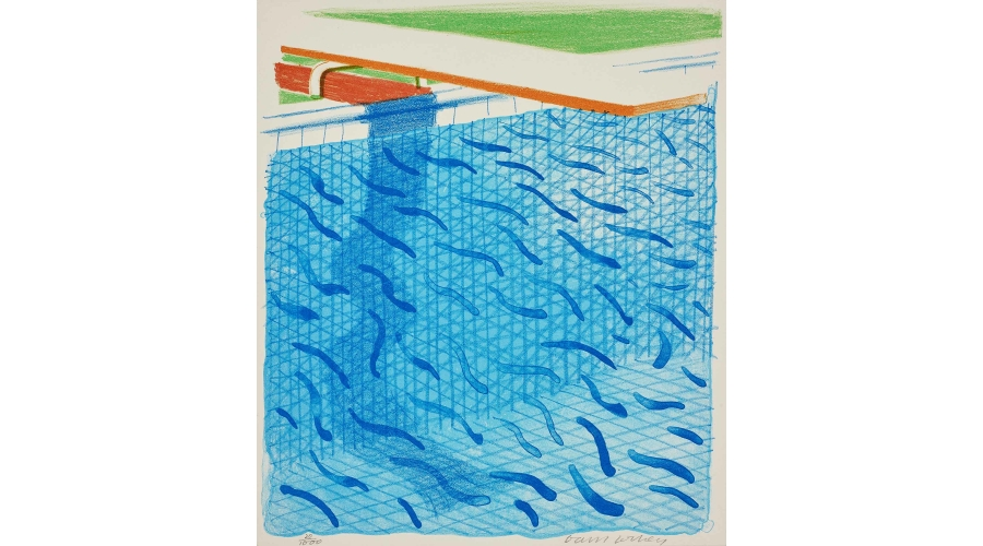 DAVID HOCKNEY Pool Made with Paper and Blue Ink