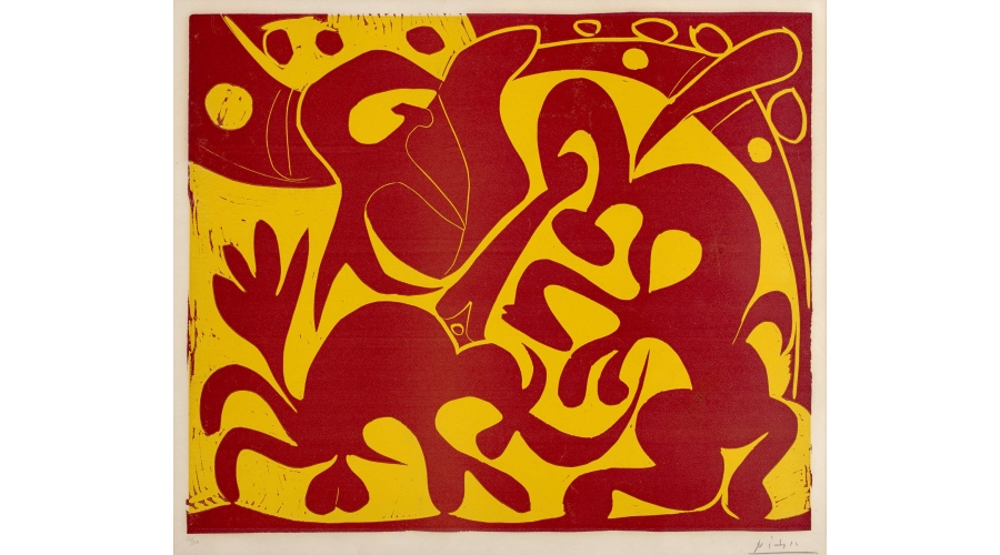 PABLO PICASSO Pique (rouge et jaune), 1959