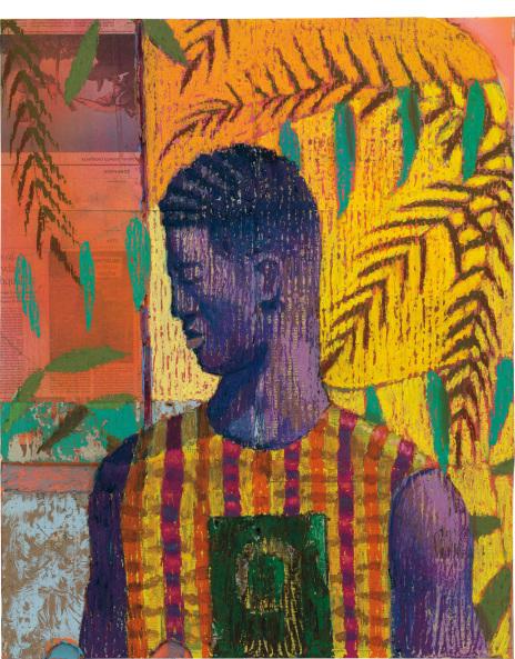 Derek Fordjour - No. 29 painting of an african man
