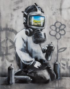 BANKSY Gas Mask Boy, 2009